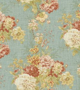 Home Decor Fabric-Waverly Romantic Overtures Ballad Bouquet Robin's Egg: This is my chair fabric. Would it be too much for a bedspread too.???
