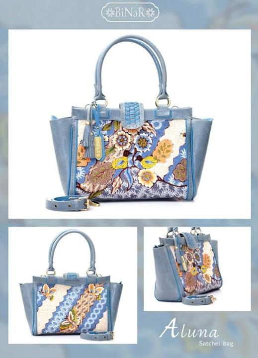 Aluna, batik's bag. Hokosan Burung Biru Bluis Grey+Blue Mill Cow Leather