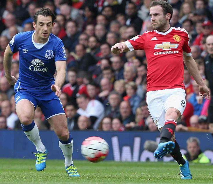Juan Mata dribbles and passes past Everton's Leighton Baines