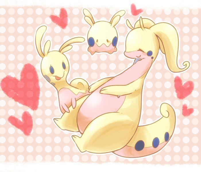 Pale yellow shiny goomy, shiny sliggoo, and shiny goodra pokemon