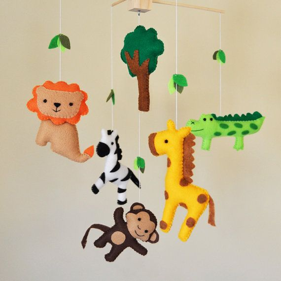 Hanging Jungle Safari Baby Mobile - Eco Friendly - giraffe, monkey, zepra, lion, and crocodile