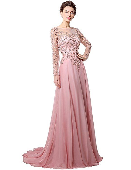 c3df1d9c3 Anmor Chiffon Mother of The Bride Groom Formal Wedding Dresses Long Sleeves  Party Evening Gown Pink US14 at Amazon Women's Clothing store:
