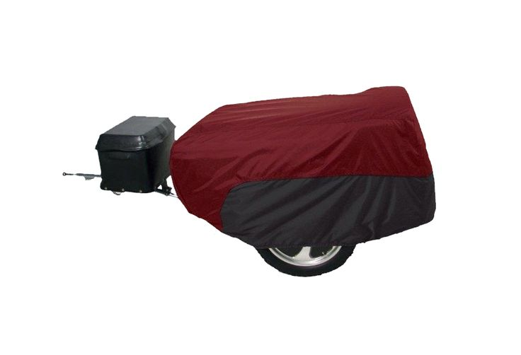 Cranberry and Black trailer cover for a pull behind motorcycle trailer.