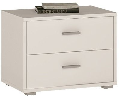 4 You 2 Drawer Low Chest/ Bedside In Pearl White   This 4 You 2
