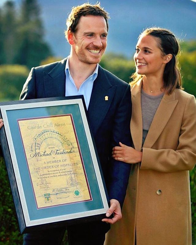 • Michael Fassbender and Alicia Vikander in Killarney, Ireland, where Michael is being inducted into the Order of Innisfallen.  #michaelfassbender