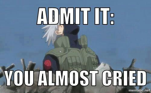 What is this almost you speak of? I did cry! if you didn't cry because Kakashi was dead, there's something wrong with you.