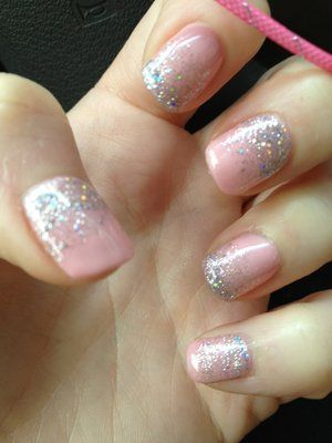 glitter alternating at the tops and bottoms of nails.