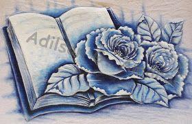 Arte * Vida: Rosas e livro - Pintura Monocromática