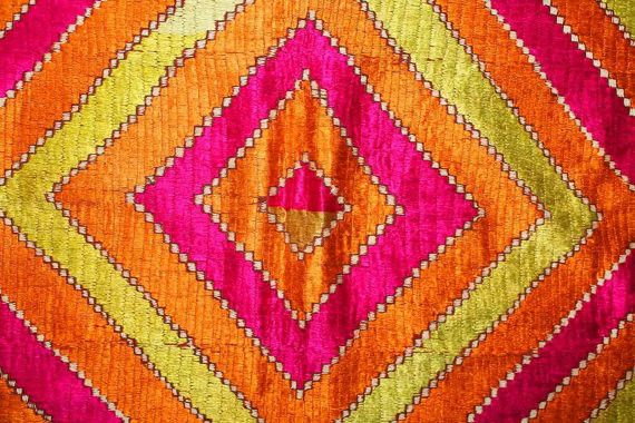 Antique phulkari bagh, from Punjab, India or Pakistan, hand-embroidered, silk on cotton,