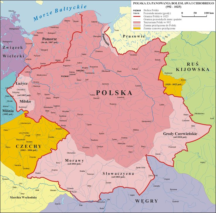 Poland (992–1025); area within dark pink color represents the borders at the end of the rule of Mieszko I (992); dark red border comprises the area at the end of the reign of Bolesław I (1025)