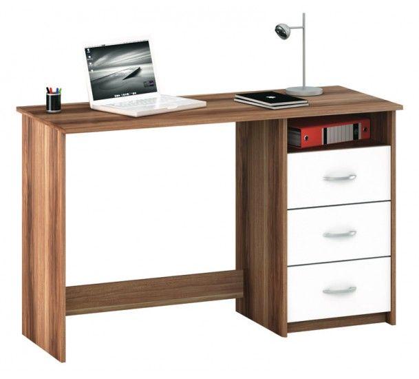 Aristote Skrivebord - Skrivebord i mørkt træ-look med 3 hvide skuffer