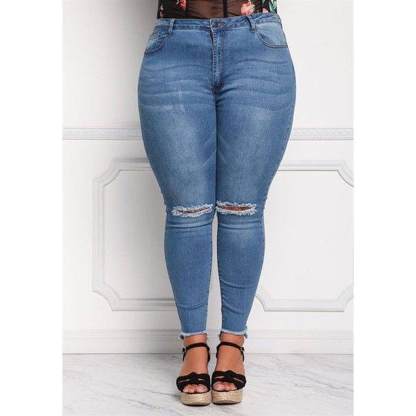 Plus Size Clothing   Plus Size Knee Slit Frayed Skinny Jeans  ... ($38) ❤ liked on Polyvore featuring jeans, skinny fit jeans, slit jeans, cut skinny jeans, denim skinny jeans and plus size skinny jeans
