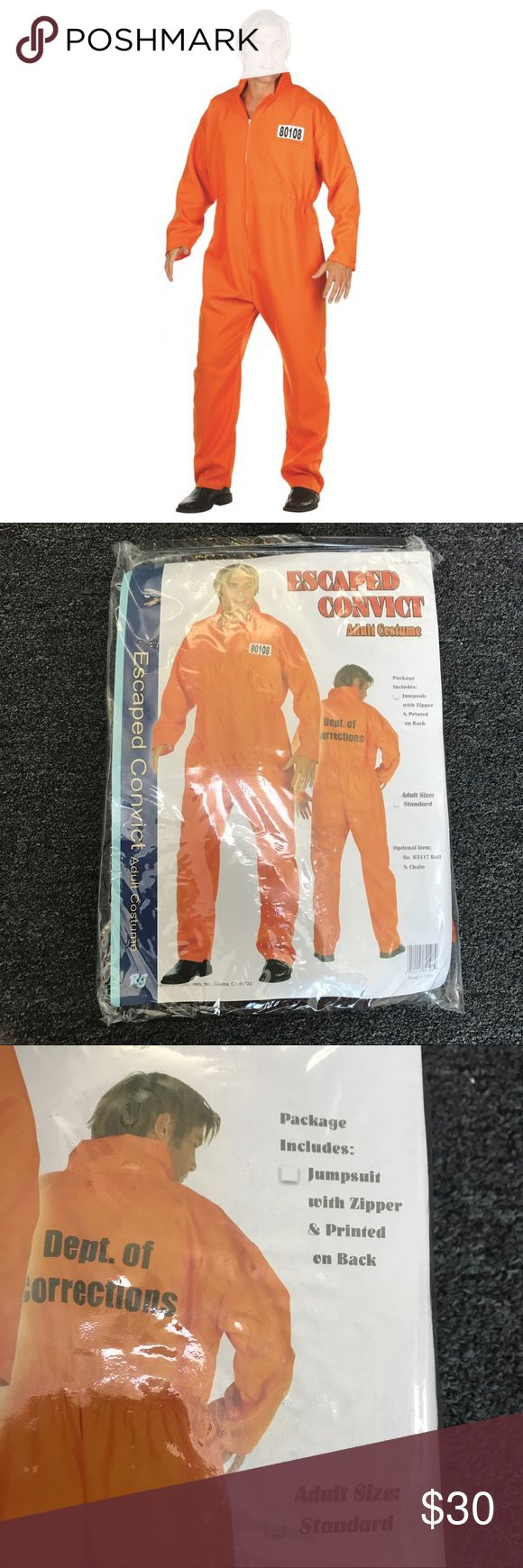 Adult Escaped Convict Costume Costume Includes: Orange prison jumpsuit with zipper and Dept. of Corrections printed on the back. One size fits most.   Only used once and in like new condition. Other