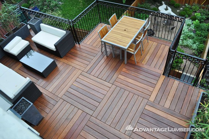 With Advantage Cumaru™ the possibilities are endless. This homeowner used short length decking profiles to create a custom pattern. #cumaru #hardwood #shortlength #deck #decking #balcony #porch