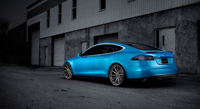 "Tesla Model S with a matte blue metallic wrap and 22"" Vossen CV1 alloy wheels  Read more at http://www.teslarati.com/tesla-model-s-aftermarket-wheels/"