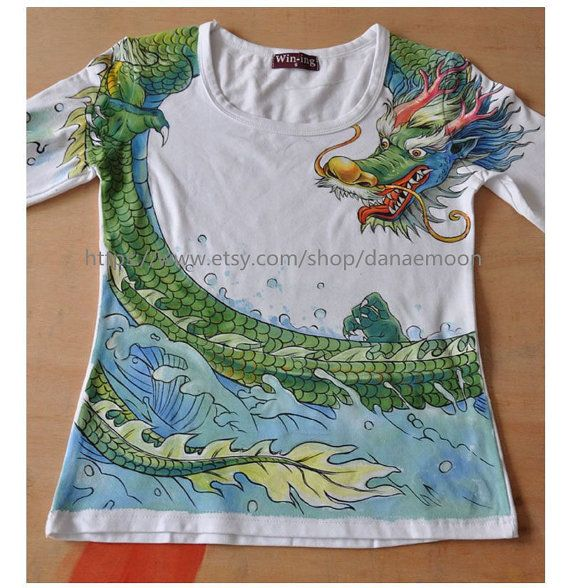Women's Tshirt handpainted Tshirts handpainted dragon by danaemoon, $65.00