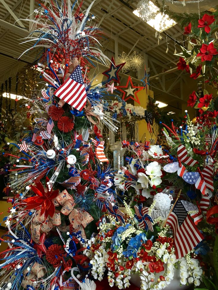 Patriotic Christmas tree designed by Arcadia Floral & Home Decor.