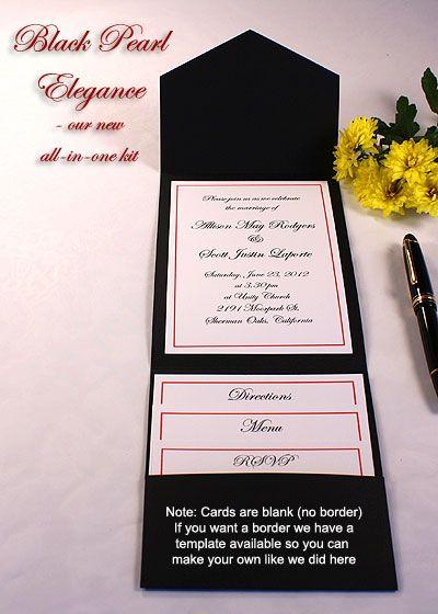Print Your Own Black Wedding Invitations, Black Pocket Wedding Invitations,  Black Printable Invitation Kits, Black DIY Wedding Invitations