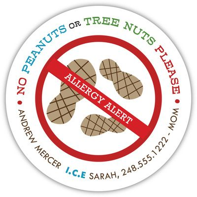 Personalized Nut Allergy Stickers #foodallergy #peanutallergy #nutallergy