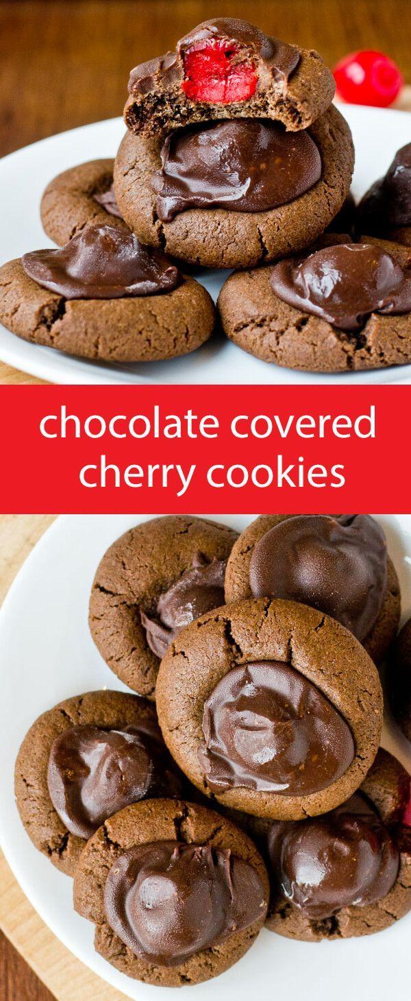 chocolate covered cherry cookies / chocolate cherries / chocolate cookies / cookie recipe / Christmas cookies / recipe / Valentine's Day via @tastesoflizzyt