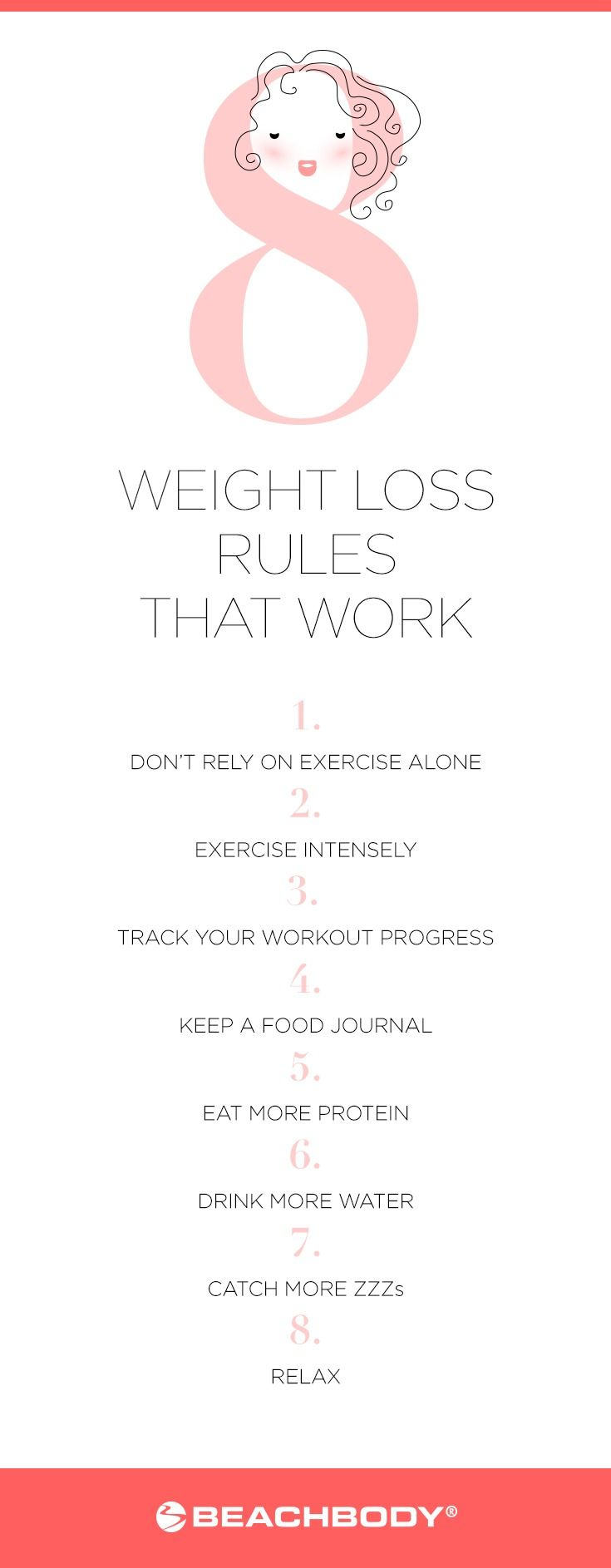Want to know how to lose weight? Start with the following eight weight loss rules that work. They're proven by science to not only help you shed fat fast, but also keep it off for good. // weight loss // work out // workout // healthy living // clean eating // sleep // relax // drink water // exercise // Beachbody // BeachbodyBlog.com