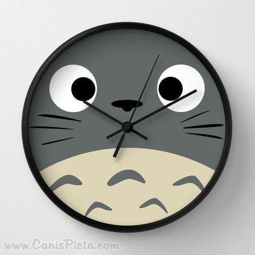 Curiously Totoro Wall Clock in Natural Wood Black or White Frames Anime Medium Manga Troll Hayao Miyazaki Studio Ghibli Gift Home Decorative...