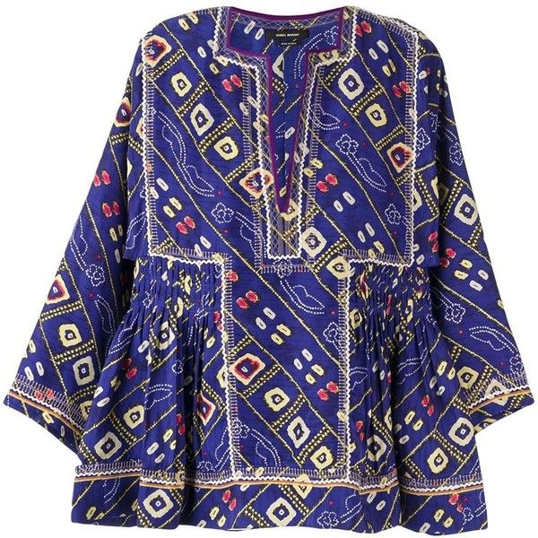Isabel Marant 'Topaz' blouse (€510) ❤ liked on Polyvore featuring tops, blouses, blue, multicolor blouse, long tops, sleeve blouse, isabel marant blouse and multi color blouse