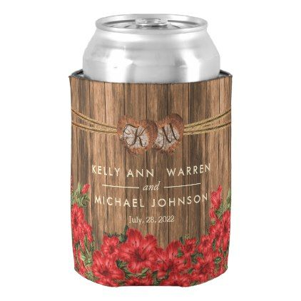 #monogrammed - #Beautiful Dusty Red Lily Flowers Can Cooler