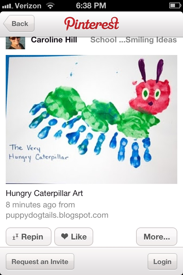 Very hungry caterpillar hand print craft