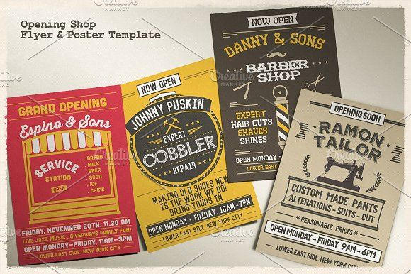 Opening Shop Flyer & Poster Template by Rooms Design Shop on @creativemarket