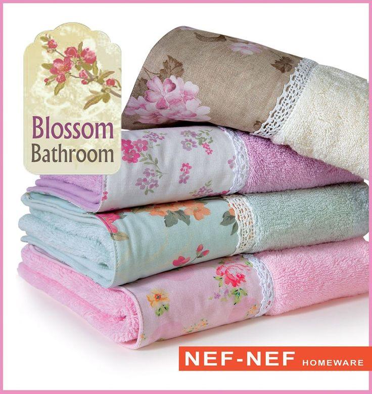 Blossom bathroom! Υπέροχες βαμβακερές πετσέτες μπάνιου με τυπωτή υφασμάτινη φάσα και δαντέλα! 50x90, 70x140 και σετ 3 τμχ