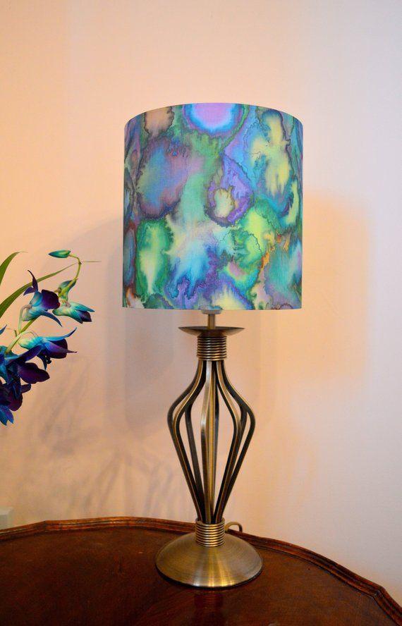 Hand Painted Silk Lampshade 20cm Diameter Circular Drum Shade Etsy Silk Lampshade New Home Gifts Home Decor