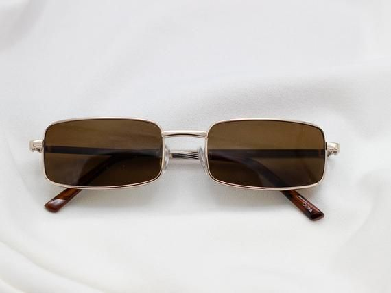 d16f70f9202a Vintage 90s Rectangle Grunge Sunglasses | Unisex Glasses | Deadstock |  Grunge Fashion | Small Square