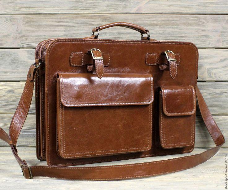 Купить Портфель из мягкой кожи большой, артикул 5187.3 - коричневый, портфель мужской, портфель