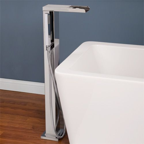 Grotto Thermostatic Waterfall Freestanding Bath Filler With Brass