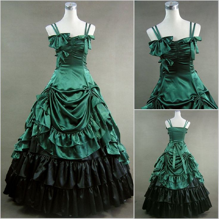 Freeship green satin Renaissance Victorian Gothic/Marie Antoinette/civil war/Southern Belle Ball Gown Dress US 6-26 XS-6XL V-30 $155.79