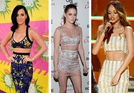 18-Apr-2013 10:51 - CELEBRITY-TREND: SHOW JE MIDDENRIF.  Het is hartstikke hot in Hollywood: het showen van je middenrif! De celebs zijn er dan ook dól op. Onder andere modeliefhebbers Katy Perry, Kristen Stewart en Rihanna doen hem voor.  Miss Perry draagt een kleurrijk exemplaar van Hervé Léger, Kristen draagt een Erdem-jurk met neon-accenten en Rihanna een Luciano Soprani-jurk tot aan de enkels. Vorige week liet ook Victorias Secret Angel Karlie Kloss haar middenrif zien. Bekijk...
