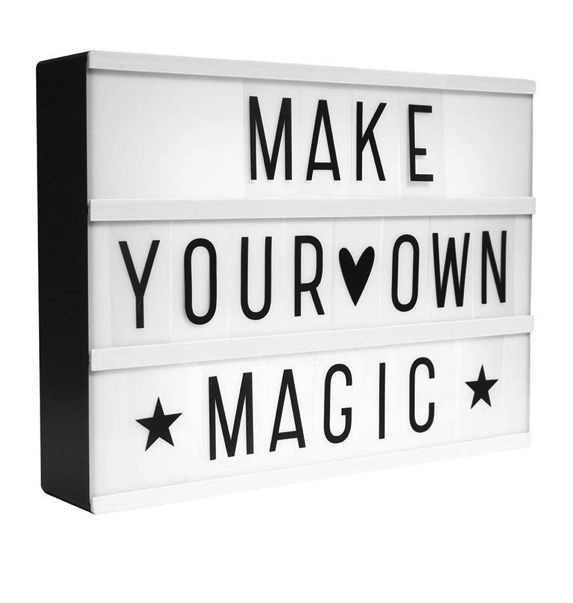 Spell Your Own Message Cinema Light Box: Perfect for kids bedrooms, Birthday messages, wedding parties and much more! Your favourite quote or motivational message will look amazing lit up on this cinematic light box. Slide the perspex tiles in to place to spell out a message of your choice. Pop 6 AA batteries in to the back and flick the switch! They stand beautifully on a shelf or table, but there are holes in the back for hanging on to the wall if you would like. Fittings are not included…