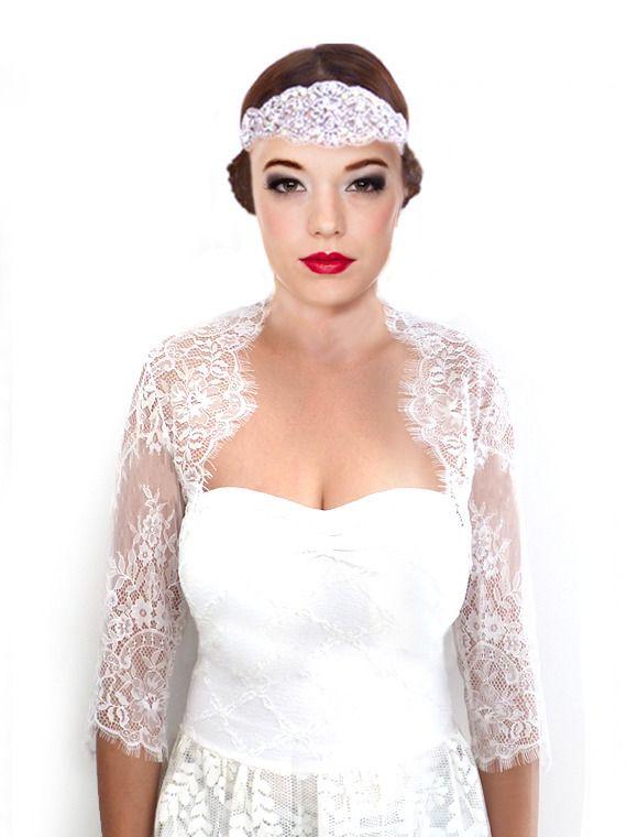 bolro marie bolro mariage bolro trois quart manche dentelle ivoire chantilly avec cils severine - Bolro Mariage Ivoire