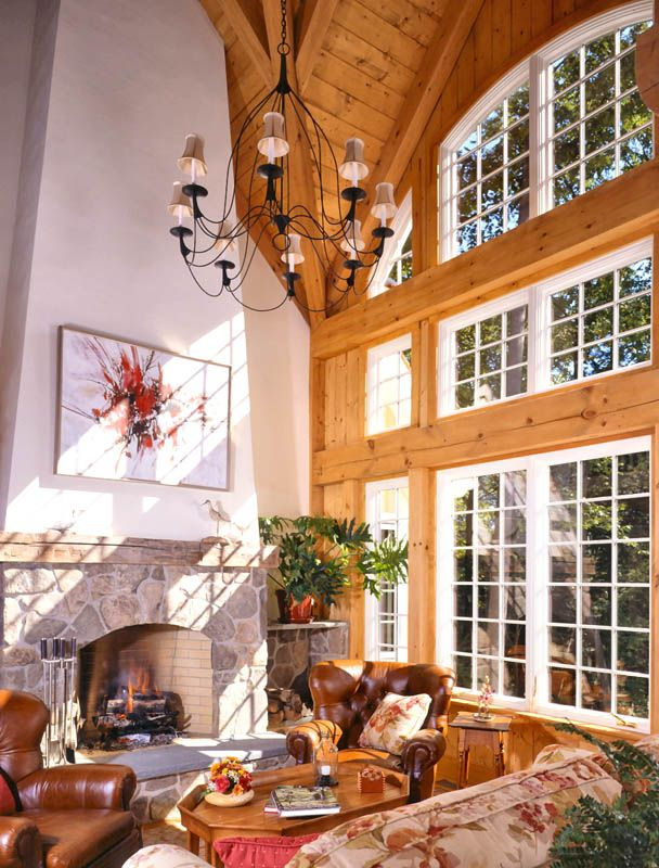 Grand Fireplace W Vaulted Ceilings Beams Open Floor: 17 Best Images About Post And Beam Rooms On Pinterest