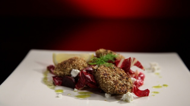 Dukkah crusted scallops with beetroot and goats cheese salad