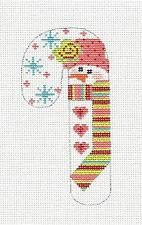 SP.ORDER ~ SM. Candy Cane Snowman in Stripes handpaint Needlepoint Canvas Danji
