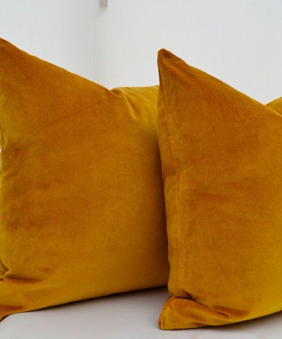 Mustard Cotton Velvet Pillow Cover Velvet Pillow by LaletDesign