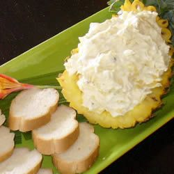 World's Best Cream Cheese and Pineapple Dip -- cream cheese, crushed pineapple, onion powder, garlic cloves