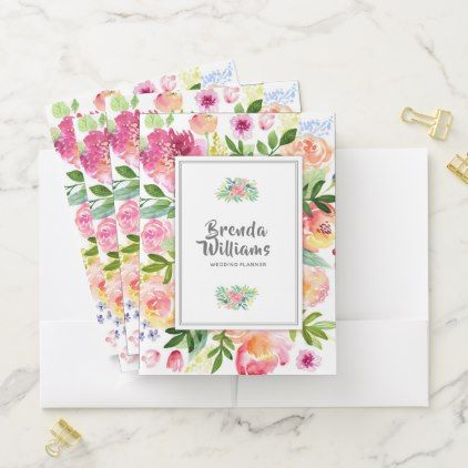 Colorful Watercolors Flowers Frame Pocket Folder - diy cyo personalize design idea new special custom