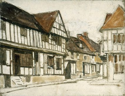 "Oil painting from the Fine Art collection. ""Village Scene"" by William Gunning King, showing view of a street with half-timbered houses."