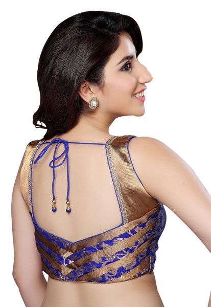 Exquisite Gold And Royal Blue Brocade Saree Blouse X-143 NS