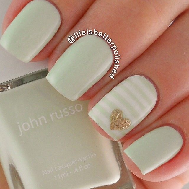 """I'm seriously obsessed with these amazing @johnrussobeauty colors!  This pale mint green is @johnrussobeauty """"Bushey"""" and is the most flattering green I have! Look how tan it makes me look! Accent nail inspired by @amkuch15 ✨"""