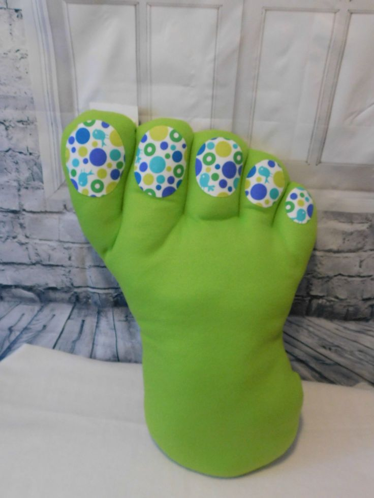 Bright green Big Foot Pillow - green fleece with circle print toenails and back by FairieSpun on Etsy