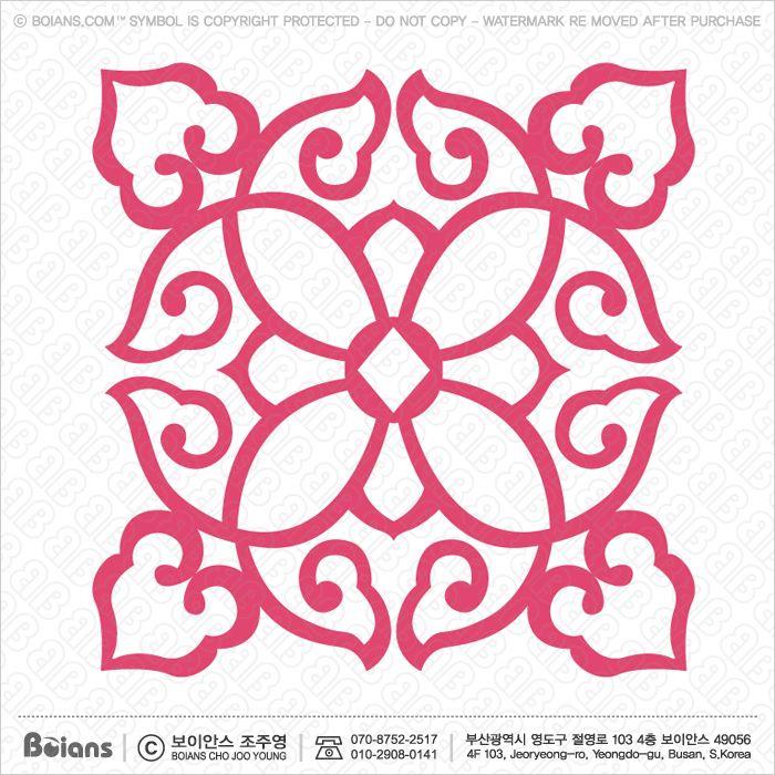 보이안스 벡터 한국전통문양 둥근격자 무늬 심볼 시리즈. Sku